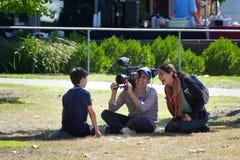 Ragazzo d'intervista della nova di PBS dopo l'eclissi Fotografia Stock