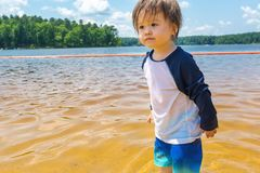 Ragazzo del bambino che gioca in un lago un giorno di estate immagine stock libera da diritti