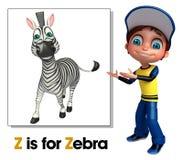 Ragazzo del bambino che indica zebra Fotografie Stock