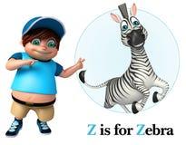 Ragazzo del bambino che indica zebra Fotografie Stock Libere da Diritti