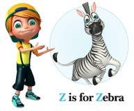 Ragazzo del bambino che indica zebra Immagine Stock