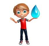 Ragazzo del bambino con goccia di acqua Immagini Stock Libere da Diritti