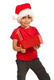 Ragazzo del bambino con il regalo aperto Fotografia Stock Libera da Diritti