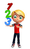 Ragazzo del bambino con il segno 123 Fotografia Stock