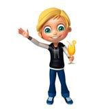 Ragazzo del bambino con Juice Glass Immagine Stock