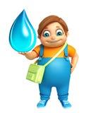 Ragazzo del bambino con la borsa & la goccia di acqua di scuola Fotografia Stock