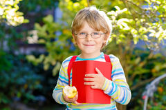 Ragazzo del bambino con la mela sul modo alla scuola Immagini Stock Libere da Diritti