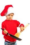 Ragazzo del bambino del cuoco unico con la padella Fotografie Stock Libere da Diritti