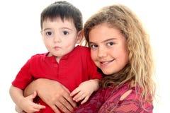 Ragazzo del bambino e della babysitter Fotografia Stock Libera da Diritti