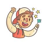 Ragazzo del fan di sport in ritratto descritto fresco disegnato a mano di Emoji del rivestimento dell'istituto universitario e de Fotografia Stock