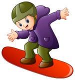 Ragazzo del fumetto che gioca snowboard illustrazione di stock