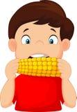 Ragazzo del fumetto che mangia cereale Immagini Stock Libere da Diritti