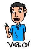 Ragazzo del fumetto che vaping con il fondo isolato Fotografia Stock