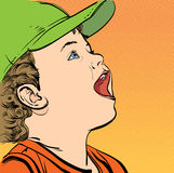 Ragazzo del fumetto di vettore in un cappuccio Fotografia Stock Libera da Diritti