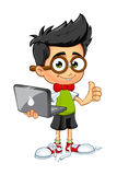 Ragazzo del geek - computer portatile illustrazione di stock