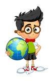 Ragazzo del geek - tenere un globo illustrazione vettoriale