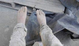 Ragazzo del lavoratore del cemento Fotografie Stock Libere da Diritti