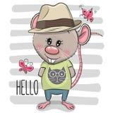 Ragazzo del ratto del fumetto della cartolina d'auguri con il cappello royalty illustrazione gratis
