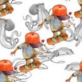 Ragazzo dell'acquerello sul pattino illustrazione di stock