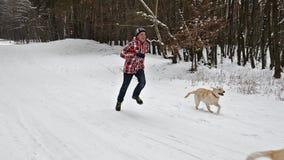 Ragazzo dell'adolescente che corre con i suoi cani su un sentiero forestale di inverno archivi video