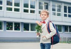 Ragazzo dell'allievo vicino alla scuola Fotografia Stock Libera da Diritti