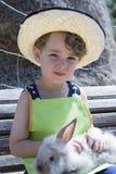Ragazzo dell'azienda agricola e ritratto del coniglio Fotografia Stock Libera da Diritti