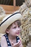 Ragazzo dell'azienda agricola e ritratto della paglia Immagini Stock Libere da Diritti