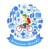 Ragazzo della rottura di estate sulla bici Immagini Stock
