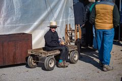 Ragazzo di Amish con il vagone fotografia stock libera da diritti