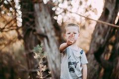 Ragazzo di 4 anni che sostiene 4 dita Fotografia Stock