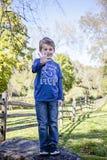 Ragazzo di cinque anni sorridente che dà cinque dita fotografie stock