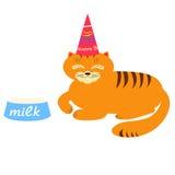 Ragazzo di compleanno del gatto con l'illustrazione del latte Fotografie Stock Libere da Diritti