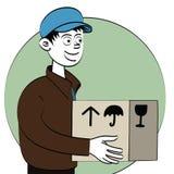 Ragazzo di consegna con il pacchetto illustrazione di stock