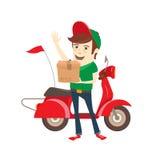 Ragazzo di consegna divertente che consegna scatola in motorino Illustrazione piana di vettore Fotografia Stock Libera da Diritti