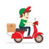 Ragazzo di consegna divertente che consegna scatola in motorino Illustrazione piana di vettore Fotografia Stock