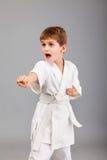 Ragazzo di karatè nel combattimento bianco del kimono Immagine Stock Libera da Diritti