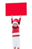 Ragazzo di Natale con l'insegna vuota Fotografia Stock
