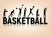Ragazzo di pallacanestro delle lettere delle siluette che gioca palla immagini stock libere da diritti