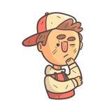 Ragazzo di pensiero in ritratto descritto fresco disegnato a mano di Emoji del rivestimento dell'istituto universitario e del cap Immagini Stock