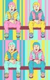 Ragazzo di Pop art Piccolo tizio fresco Il bambino sta sedendosi sulla barra trasversale Fondo variopinto nel retro stile comico  royalty illustrazione gratis