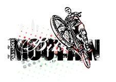 Ragazzo di salto sul mountain bike Fotografia Stock