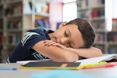 Ragazzo di scuola che dorme sui libri Fotografia Stock Libera da Diritti