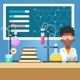Ragazzo di scuola con l'attrezzatura di chimica royalty illustrazione gratis