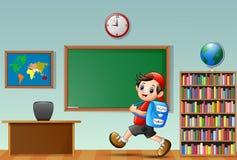 Ragazzo di scuola del fumetto in un'aula royalty illustrazione gratis
