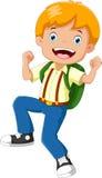 Ragazzo di scuola felice con lo zaino illustrazione vettoriale