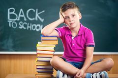 Ragazzo di scuola sveglio che si siede con i libri in aula Immagine Stock