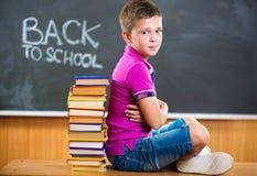 Ragazzo di scuola sveglio che si siede con i libri in aula Immagini Stock