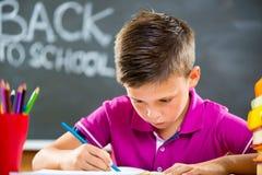 Ragazzo di scuola sveglio che studia nell'aula Immagini Stock Libere da Diritti