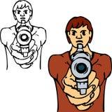 Ragazzo difettoso con la pistola Fotografie Stock Libere da Diritti