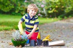 Ragazzo divertente del bambino che pianta i fiori in giardino su sprinig Fotografie Stock Libere da Diritti